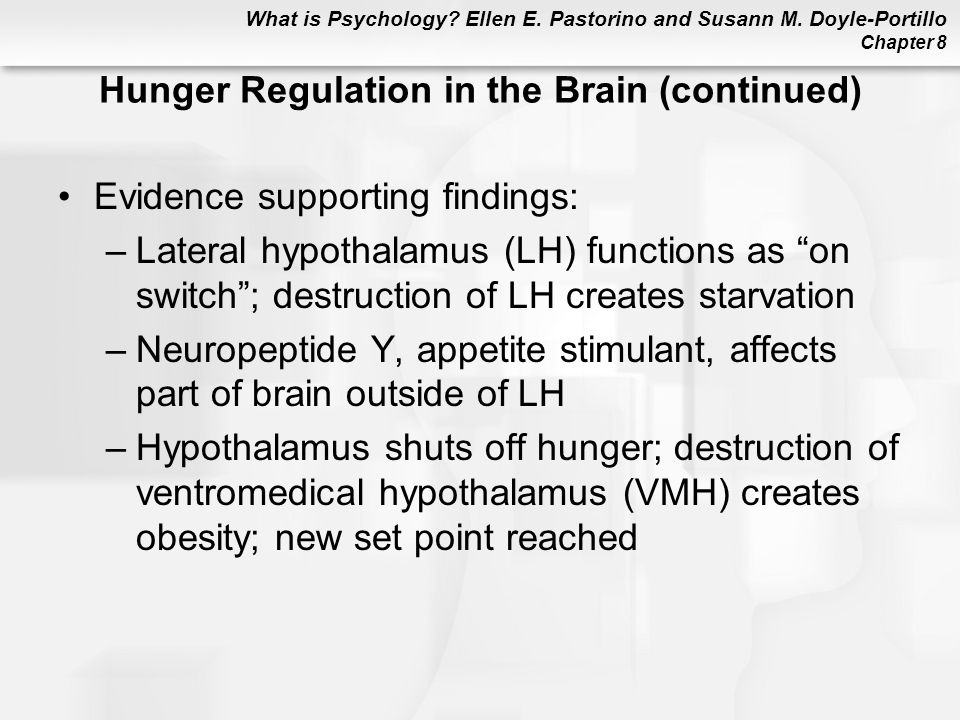 What is Psychology? Ellen E. Pastorino and Susann M. Doyle-Portillo Chapter 8 Hunger Regulation in the Brain (continued) Evidence supporting findings: