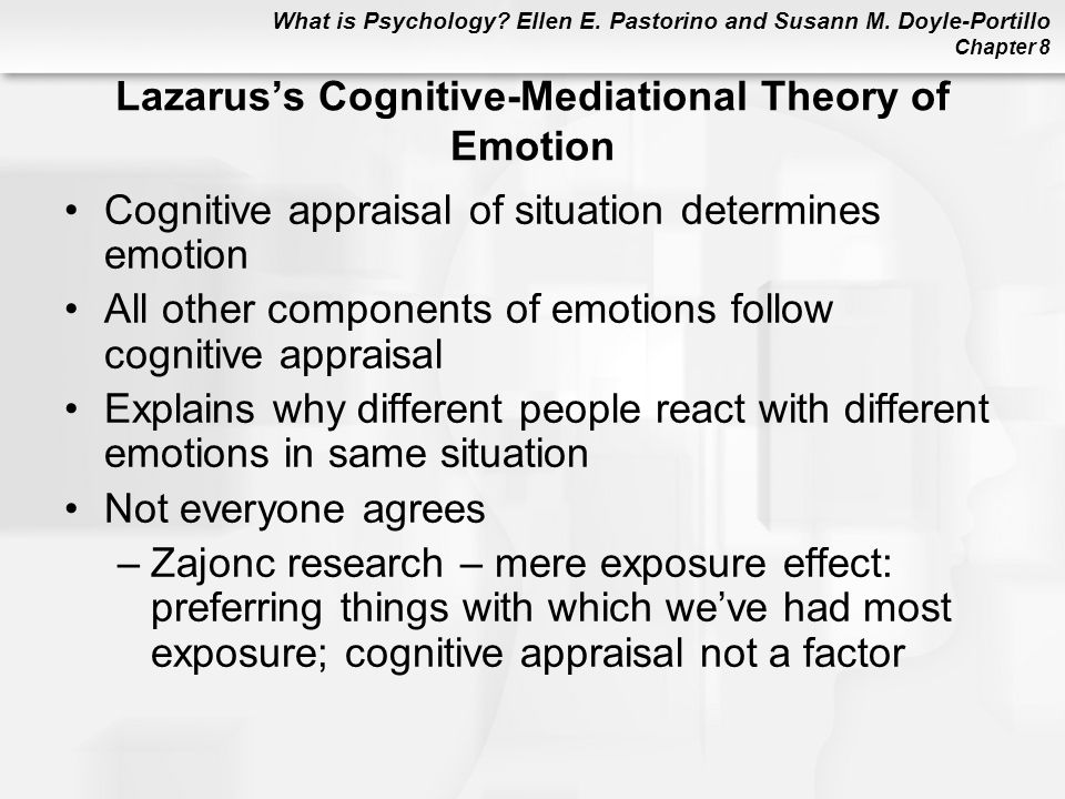 What is Psychology? Ellen E. Pastorino and Susann M. Doyle-Portillo Chapter 8 Lazarus's Cognitive-Mediational Theory of Emotion Cognitive appraisal of
