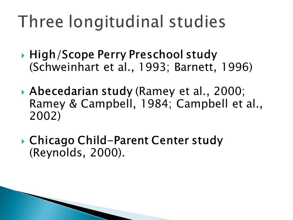  High/Scope Perry Preschool study (Schweinhart et al., 1993; Barnett, 1996)  Abecedarian study (Ramey et al., 2000; Ramey & Campbell, 1984; Campbell et al., 2002)  Chicago Child-Parent Center study (Reynolds, 2000).