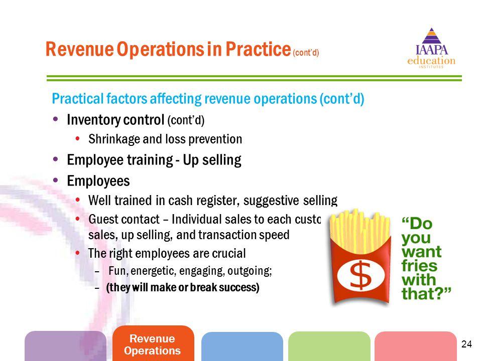 Revenue Operations Revenue Operations in Practice (cont'd) Practical factors affecting revenue operations (cont'd)  Inventory control (cont'd) Shrink