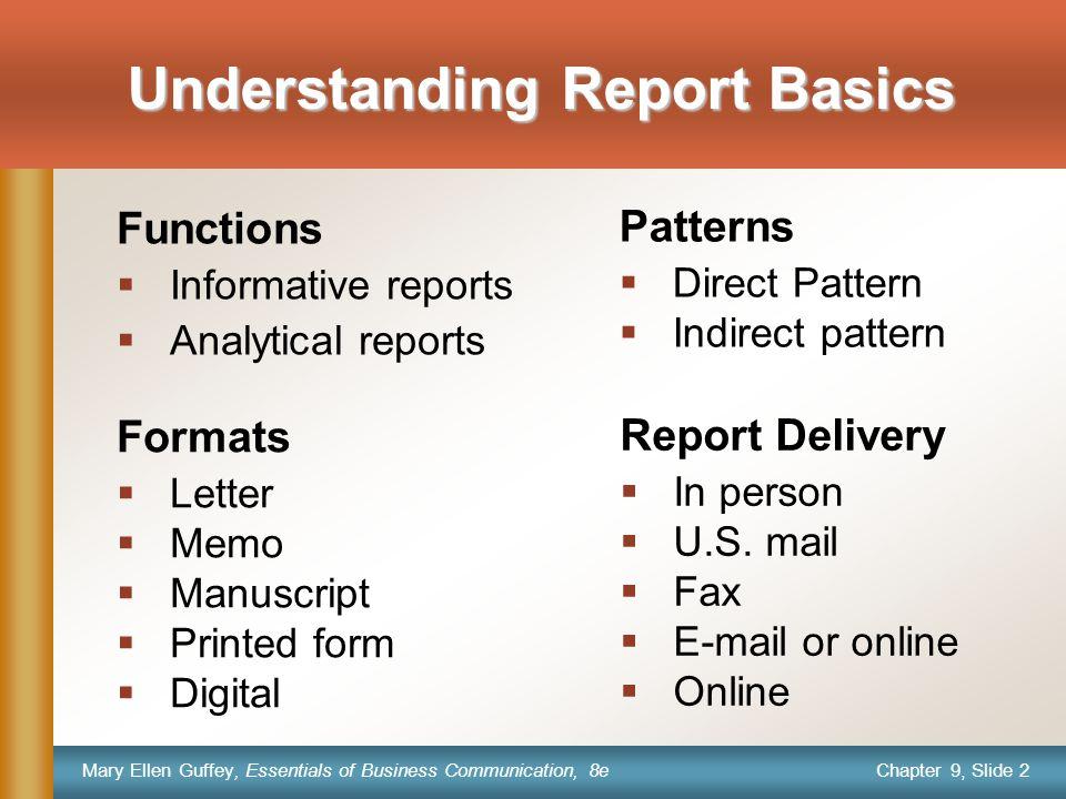 Chapter 9, Slide 2 Mary Ellen Guffey, Essentials of Business Communication, 8e Understanding Report Basics Formats  Letter  Memo  Manuscript  Prin