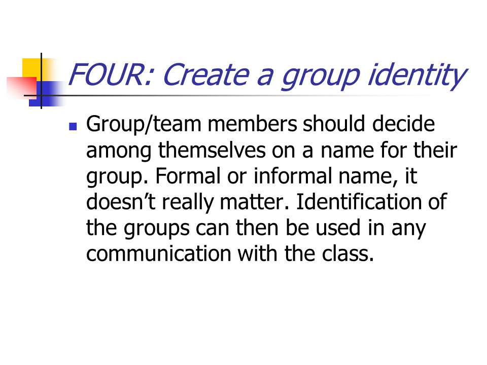 FOUR: Create a group identity Group/team members should decide among themselves on a name for their group.