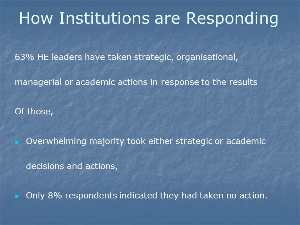 How Institutions are Responding 63% HE leaders have taken strategic, organisational, managerial or academic actions in response to the results Of those, Overwhelming majority took either strategic or academic decisions and actions, Only 8% respondents indicated they had taken no action.