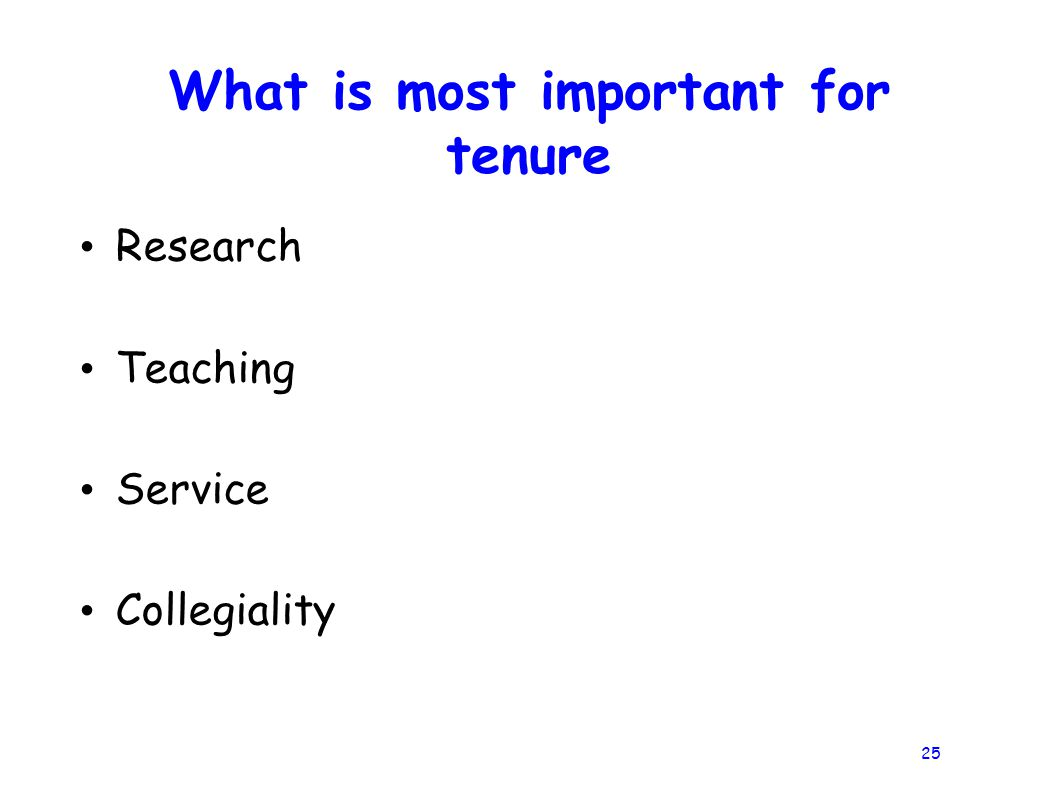 25 What is most important for tenure Research Teaching Service Collegiality