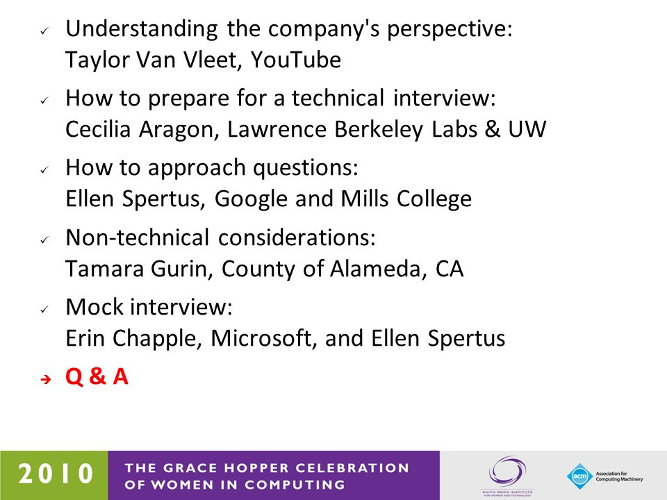 Understanding the company's perspective: Taylor Van Vleet, YouTube How to prepare for a technical interview: Cecilia Aragon, Lawrence Berkeley Labs &