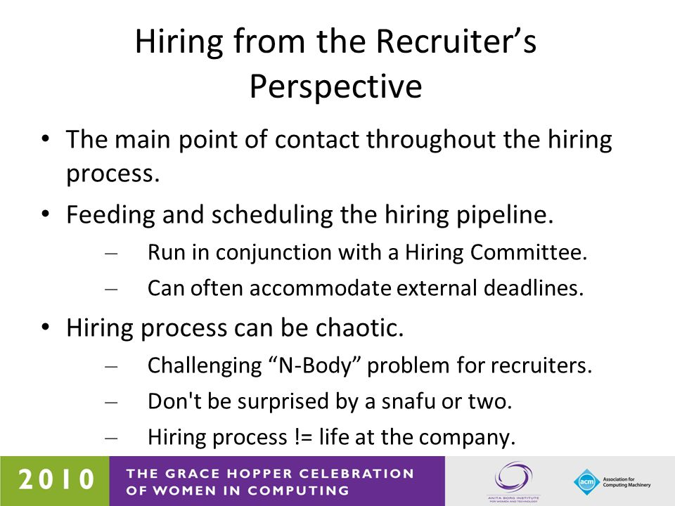 Hiring from the Interviewer s Perspective Expect range of interviewers: – Peers and senior.