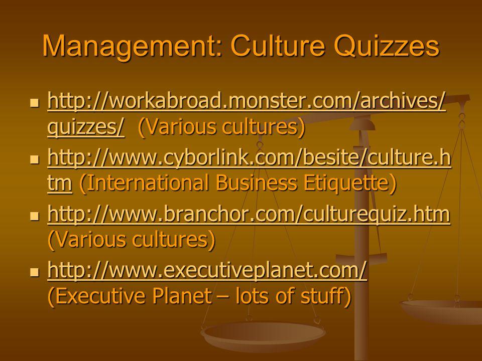 Management: Culture Quizzes http://workabroad.monster.com/archives/ quizzes/ (Various cultures) http://workabroad.monster.com/archives/ quizzes/ (Various cultures) http://workabroad.monster.com/archives/ quizzes/ http://workabroad.monster.com/archives/ quizzes/ http://www.cyborlink.com/besite/culture.h tm (International Business Etiquette) http://www.cyborlink.com/besite/culture.h tm (International Business Etiquette) http://www.cyborlink.com/besite/culture.h tm http://www.cyborlink.com/besite/culture.h tm http://www.branchor.com/culturequiz.htm (Various cultures) http://www.branchor.com/culturequiz.htm (Various cultures) http://www.branchor.com/culturequiz.htm http://www.executiveplanet.com/ (Executive Planet – lots of stuff) http://www.executiveplanet.com/ (Executive Planet – lots of stuff) http://www.executiveplanet.com/