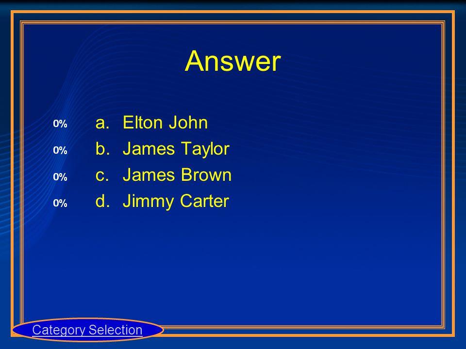 a.Elton John b.James Taylor c.James Brown d.Jimmy Carter Category Selection