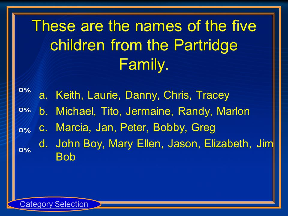 These are the names of the five children from the Partridge Family. a.Keith, Laurie, Danny, Chris, Tracey b.Michael, Tito, Jermaine, Randy, Marlon c.M
