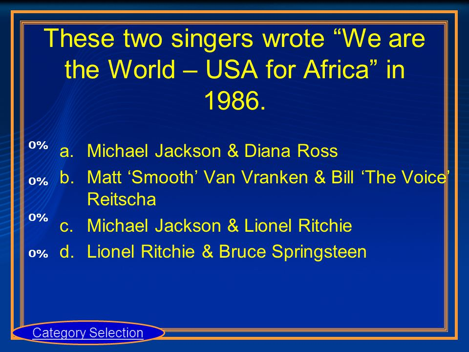 """These two singers wrote """"We are the World – USA for Africa"""" in 1986. a.Michael Jackson & Diana Ross b.Matt 'Smooth' Van Vranken & Bill 'The Voice' Rei"""