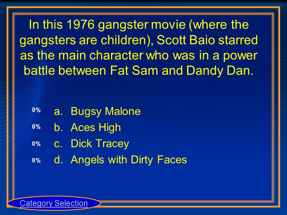 In this 1976 gangster movie (where the gangsters are children), Scott Baio starred as the main character who was in a power battle between Fat Sam and
