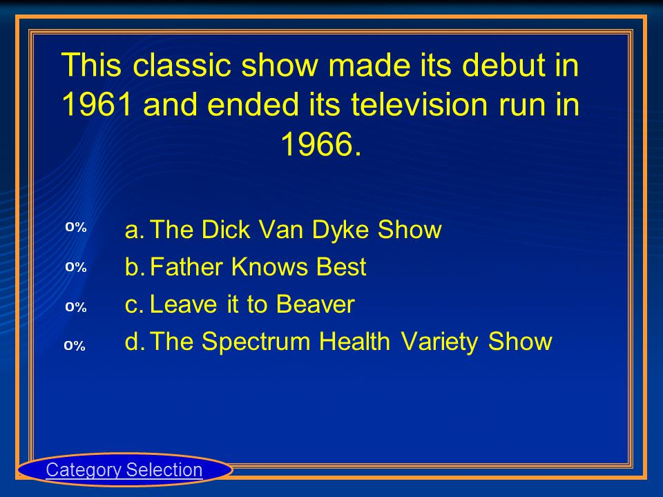 This classic show made its debut in 1961 and ended its television run in 1966. a.The Dick Van Dyke Show b.Father Knows Best c.Leave it to Beaver d.The
