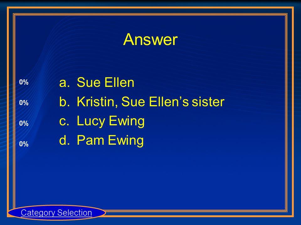 Answer a.Sue Ellen b.Kristin, Sue Ellen's sister c.Lucy Ewing d.Pam Ewing Category Selection