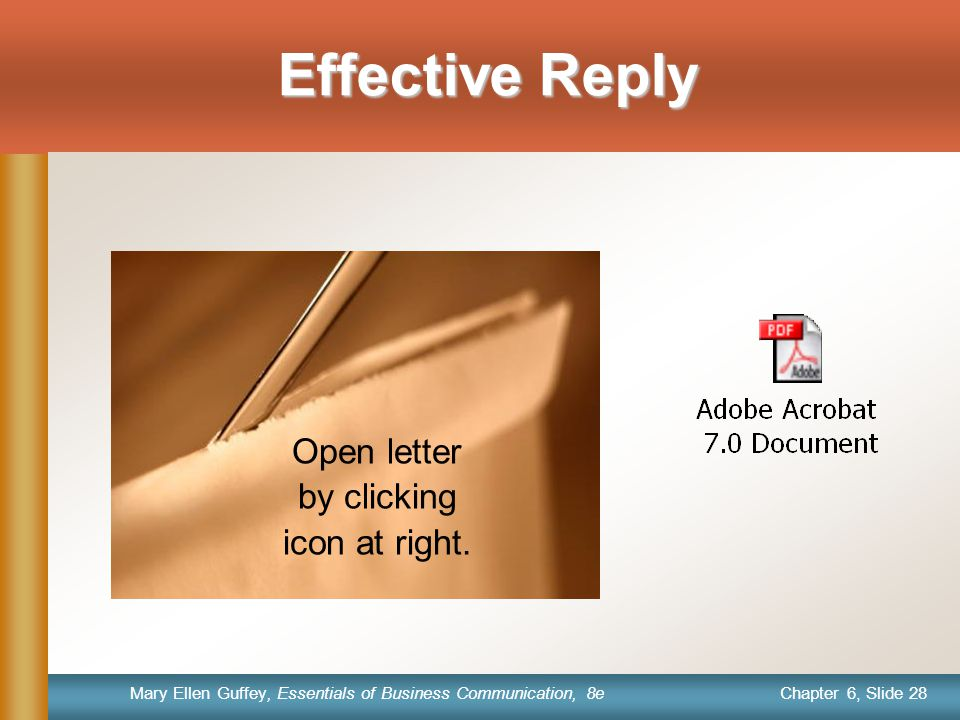 Chapter 6, Slide 28 Mary Ellen Guffey, Essentials of Business Communication, 8e Effective Reply Open letter by clicking icon at right.