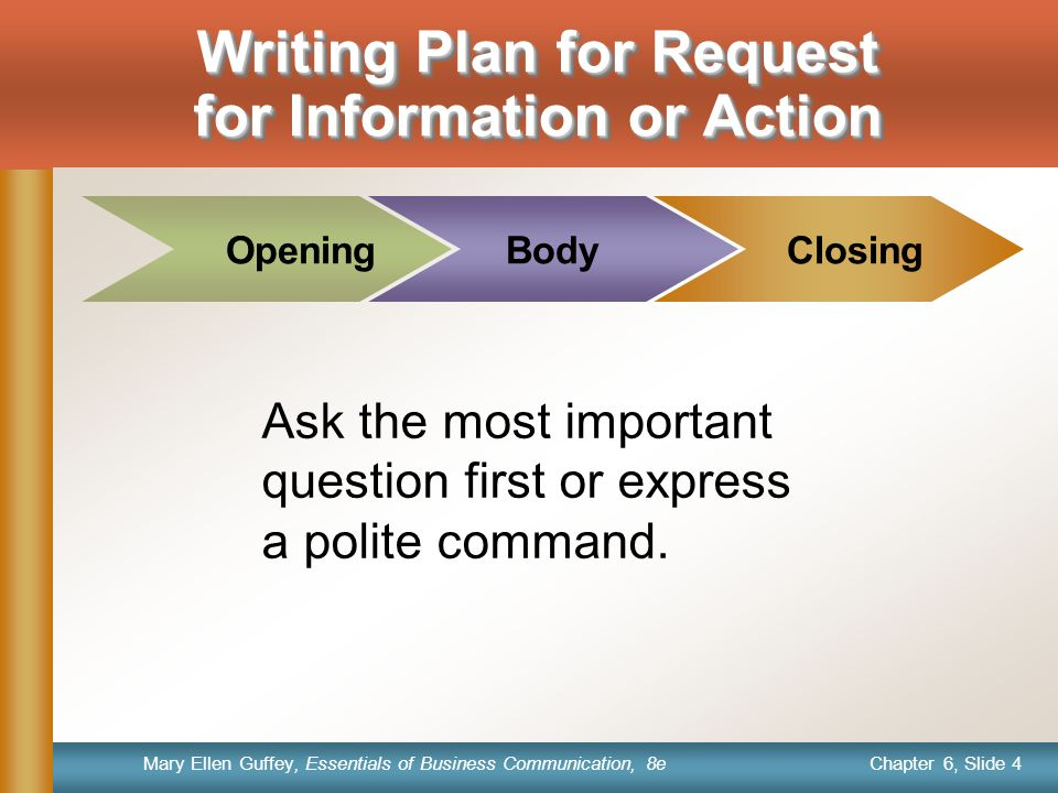 Chapter 6, Slide 4 Mary Ellen Guffey, Essentials of Business Communication, 8e Body Closing Ask the most important question first or express a polite