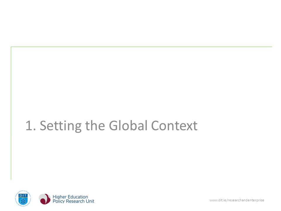 www.dit.ie/researchandenterprise Setting the Future Global Context (1) 1.Globalisation is forcing change across all knowledge-intensive industries, creating a 'single world market'.
