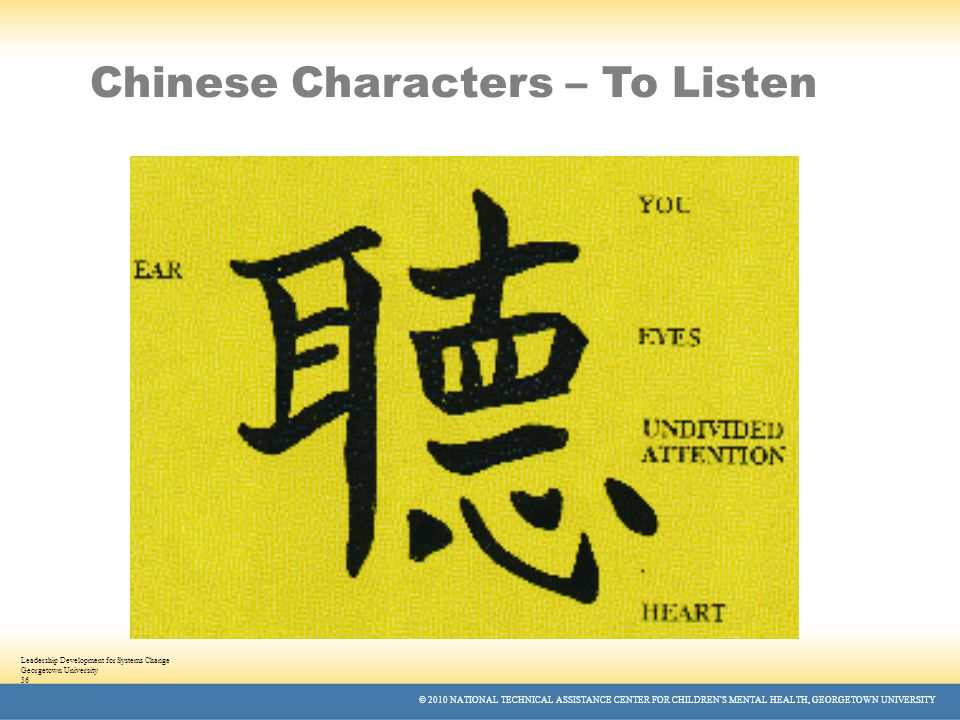 © 2010 NATIONAL TECHNICAL ASSISTANCE CENTER FOR CHILDREN'S MENTAL HEALTH, GEORGETOWN UNIVERSITY Leadership Development for Systems Change Georgetown University 36 Chinese Characters – To Listen