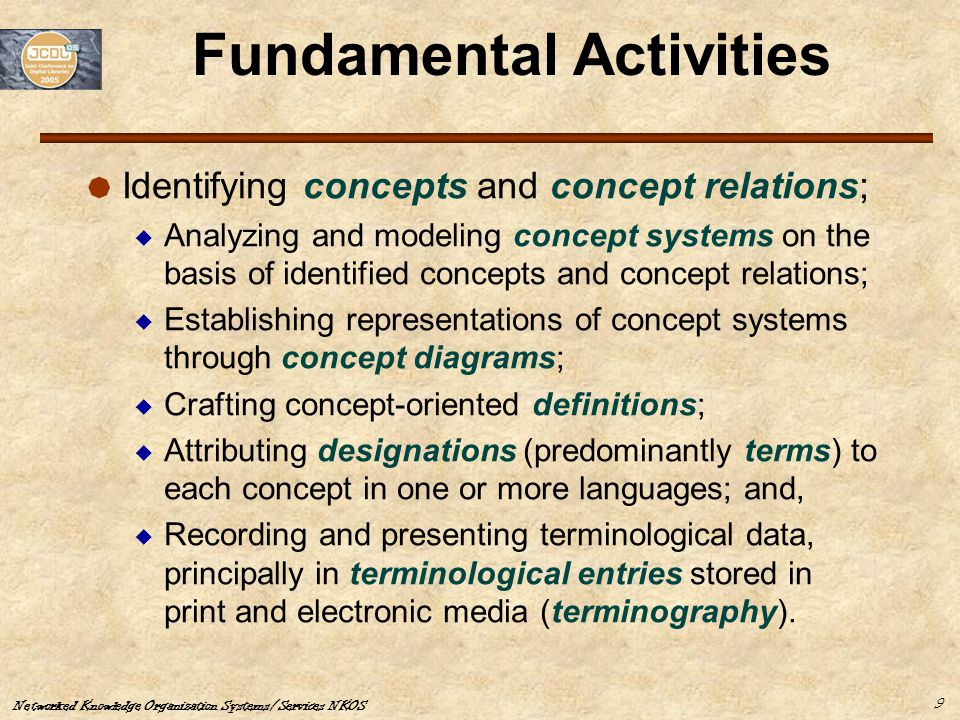 Networked Knowledge Organization Systems/Services NKOS 9 Fundamental Activities  Identifying concepts and concept relations;  Analyzing and modeling