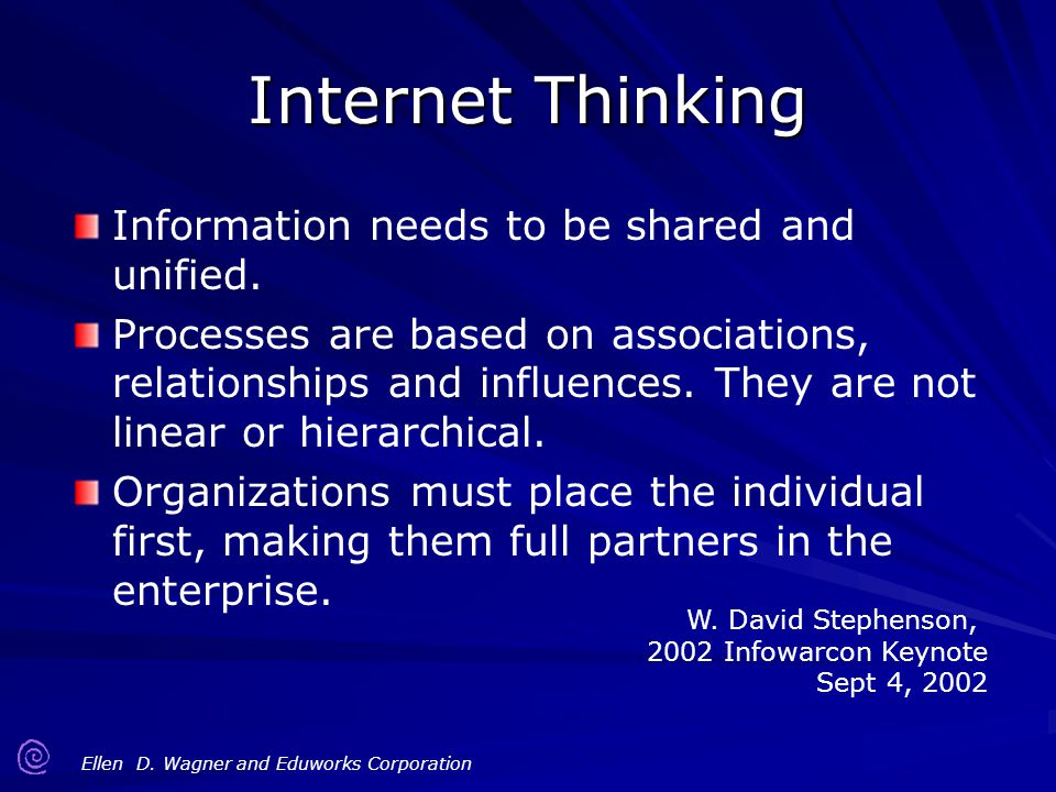 Ellen D. Wagner and Eduworks Corporation Internet Thinking Information needs to be shared and unified. Processes are based on associations, relationsh