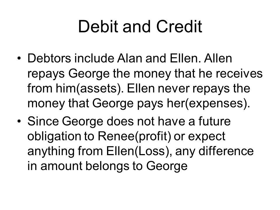 Debit and Credit Debtors include Alan and Ellen.