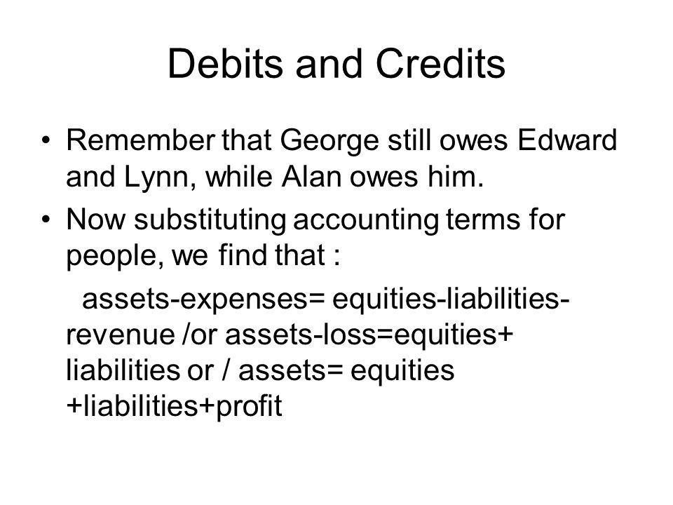 Debits and Credits Remember that George still owes Edward and Lynn, while Alan owes him.