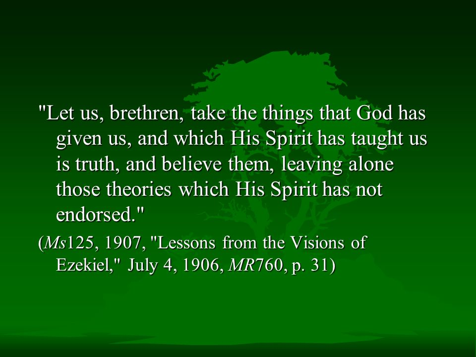 Let us, brethren, take the things that God has given us, and which His Spirit has taught us is truth, and believe them, leaving alone those theories which His Spirit has not endorsed. (Ms125, 1907, Lessons from the Visions of Ezekiel, July 4, 1906, MR760, p.