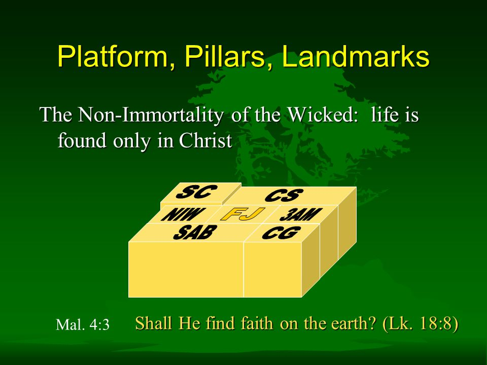 The Non-Immortality of the Wicked: life is found only in Christ Platform, Pillars, Landmarks Shall He find faith on the earth.