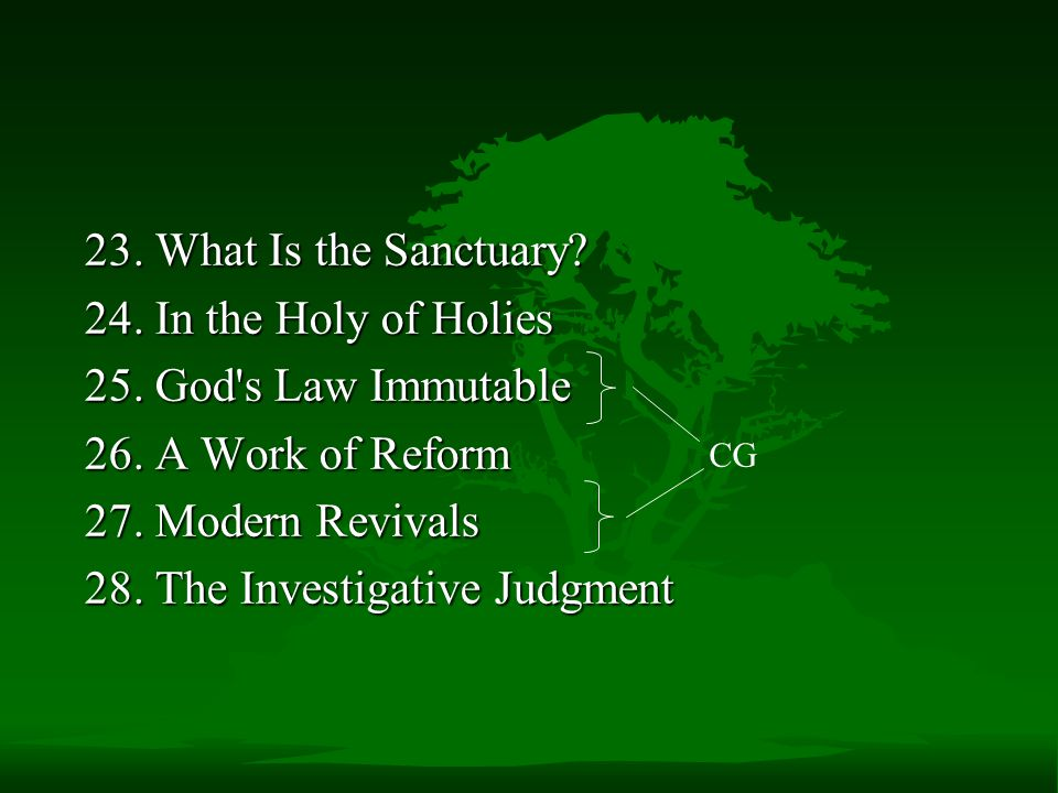 23.What Is the Sanctuary. 24. In the Holy of Holies 25.