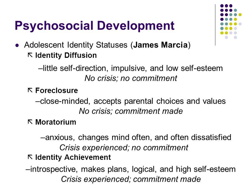 Psychosocial Development Adolescent Identity Statuses (James Marcia)  Identity Diffusion  Foreclosure  Moratorium  Identity Achievement –little se