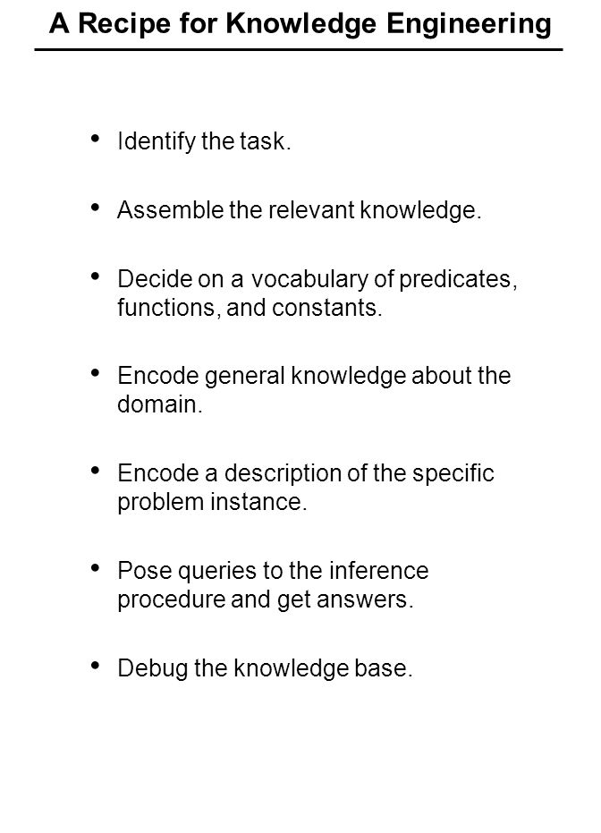 A Recipe for Knowledge Engineering Identify the task.