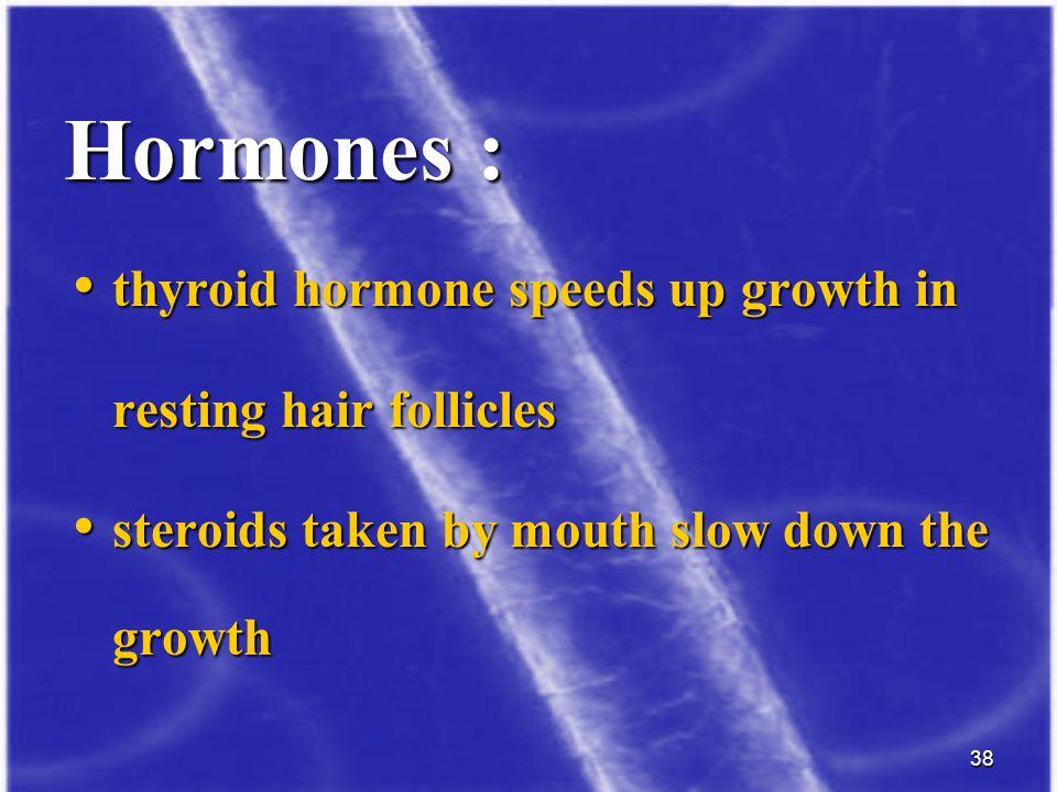 38 thyroid hormone speeds up growth in thyroid hormone speeds up growth in resting hair follicles resting hair follicles steroids taken by mouth slow