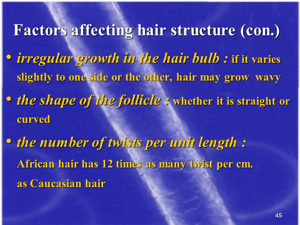 45 irregular growth in the hair bulb : if it varies slightly to one side or the other, hair may grow wavy irregular growth in the hair bulb : if it va