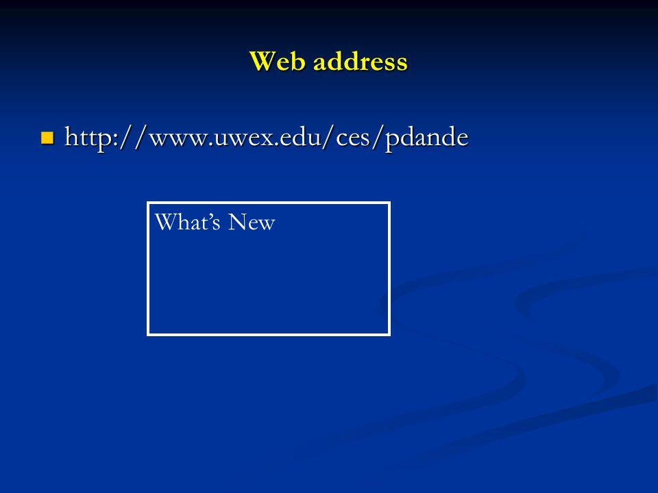 Web address http://www.uwex.edu/ces/pdande http://www.uwex.edu/ces/pdande What's New