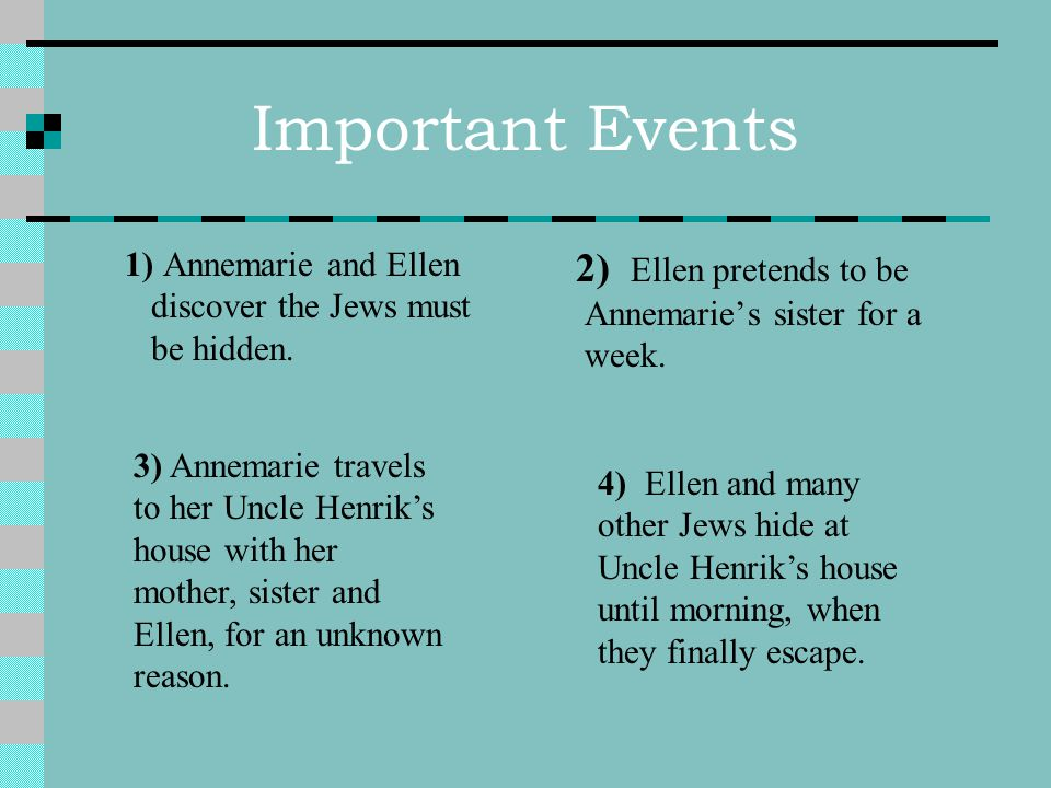 Important Events 1) Annemarie and Ellen discover the Jews must be hidden.