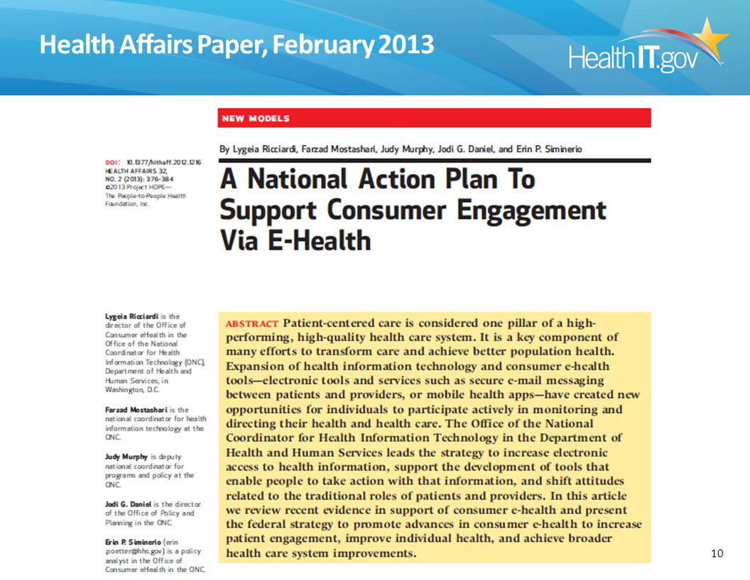 Health Affairs Paper, February 2013 10