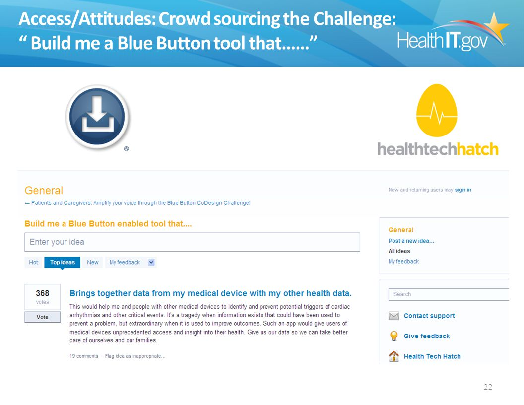 Access/Attitudes: Crowd sourcing the Challenge: Build me a Blue Button tool that…… 22