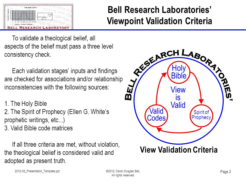 2012-06_Presentation_Template.ppt©2012; David Douglas Bell, All rights reserved Page 2 Bell Research Laboratories' Viewpoint Validation Criteria Holy Bible Valid Codes Spirit of Prophecy View is Valid View Validation Criteria To validate a theological belief, all aspects of the belief must pass a three level consistency check.