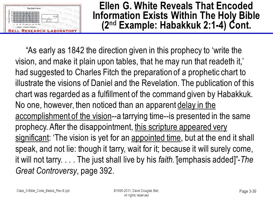 Class_3-Bible_Code_Basics_Rev-E.ppt©1995-2011; David Douglas Bell, All rights reserved Page 3-39 As early as 1842 the direction given in this prophecy to 'write the vision, and make it plain upon tables, that he may run that readeth it,' had suggested to Charles Fitch the preparation of a prophetic chart to illustrate the visions of Daniel and the Revelation.