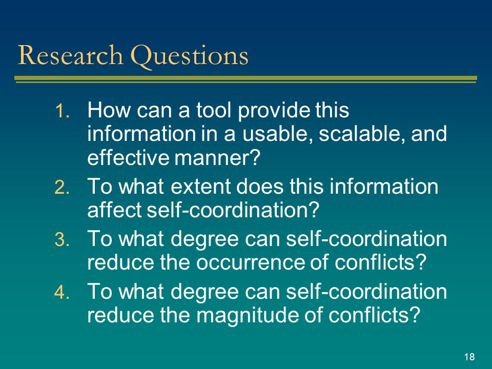 18 Research Questions 1.