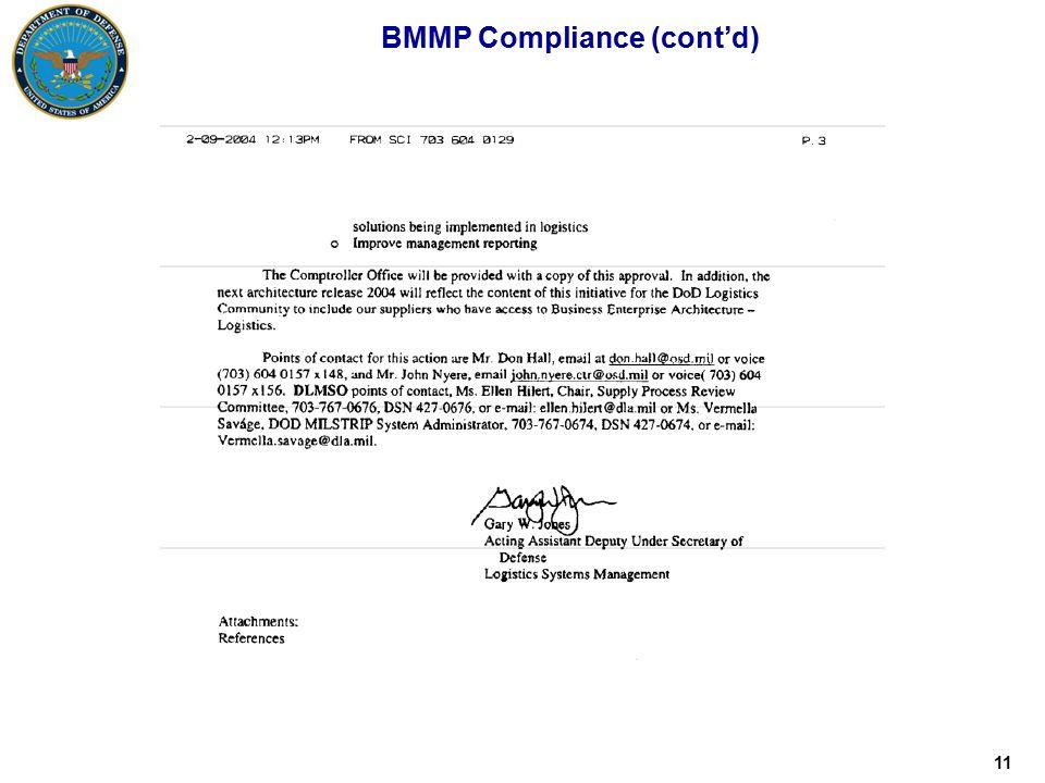11 BMMP Compliance (cont'd)