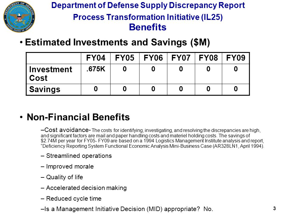 3 Department of Defense Supply Discrepancy Report Process Transformation Initiative (IL25) Benefits Non-Financial Benefits –Cost avoidance- The costs