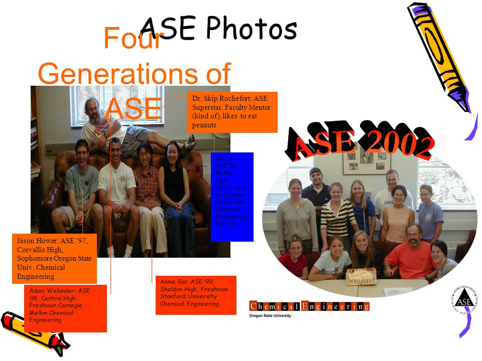 ASE Photos Four Generations of ASE Jason Hower: ASE '97, Corvallis High, Sophomore Oregon State Univ. Chemical Engineering Adam Welander: ASE '98, Cen