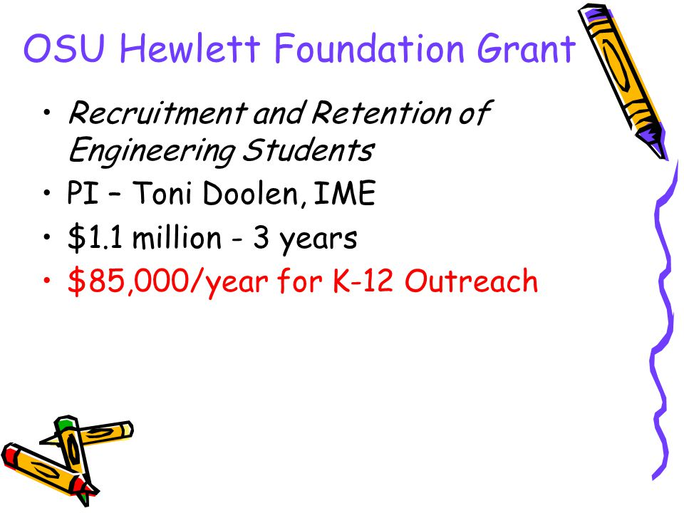 OSU Hewlett Foundation Grant Recruitment and Retention of Engineering Students PI – Toni Doolen, IME $1.1 million - 3 years $85,000/year for K-12 Outr