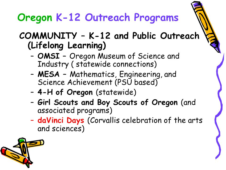 Oregon K-12 Outreach Programs COMMUNITY – K-12 and Public Outreach (Lifelong Learning) –OMSI – Oregon Museum of Science and Industry ( statewide conne