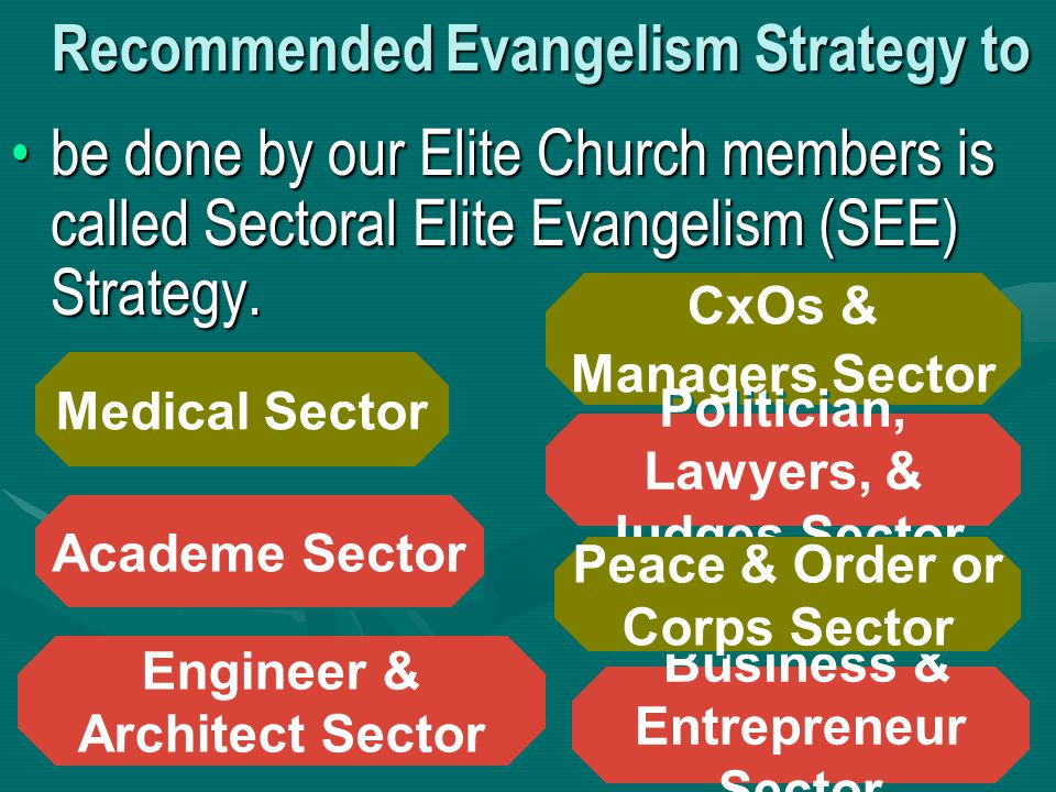 Recommended Evangelism Strategy to be done by our Elite Church members is called Sectoral Elite Evangelism (SEE) Strategy.be done by our Elite Church