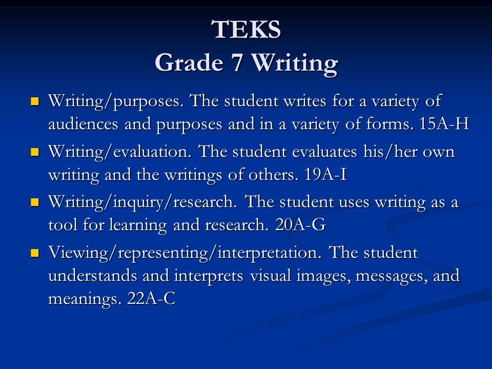 TEKS Grade 7 Writing Writing/purposes.