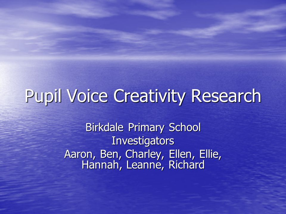 Pupil Voice Creativity Research Birkdale Primary School Investigators Aaron, Ben, Charley, Ellen, Ellie, Hannah, Leanne, Richard