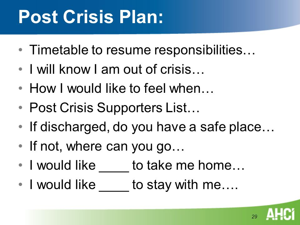 Post Crisis Plan: Timetable to resume responsibilities… I will know I am out of crisis… How I would like to feel when… Post Crisis Supporters List… If