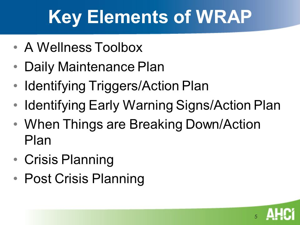 Key Elements of WRAP A Wellness Toolbox Daily Maintenance Plan Identifying Triggers/Action Plan Identifying Early Warning Signs/Action Plan When Thing