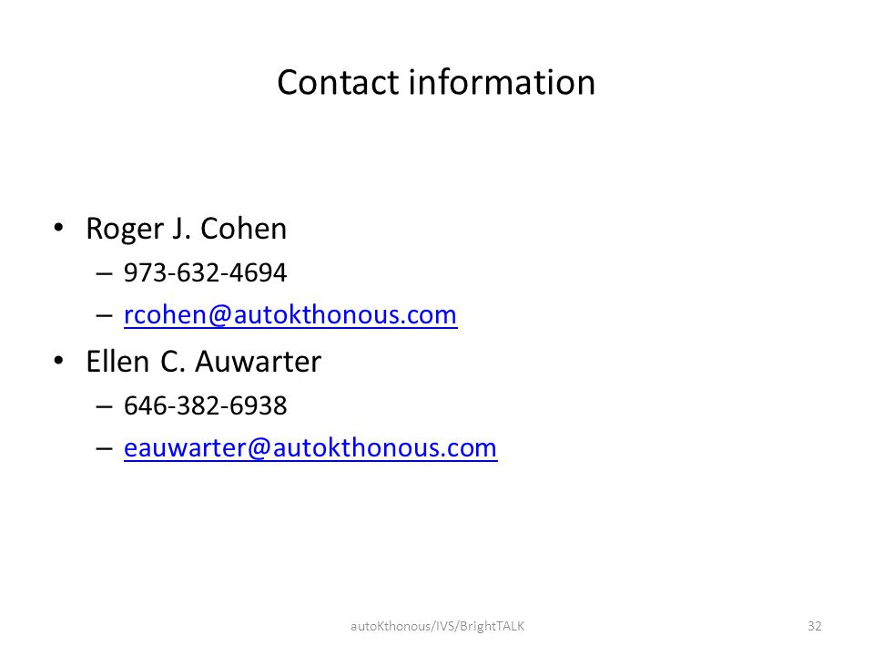 Contact information Roger J.